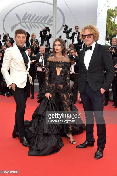 Designer Peter Dundas Evangelo Bousis and Model Emily Ratajkowski attend the 'Loveless ' screening during the 70th annual Cannes Film Festival at...