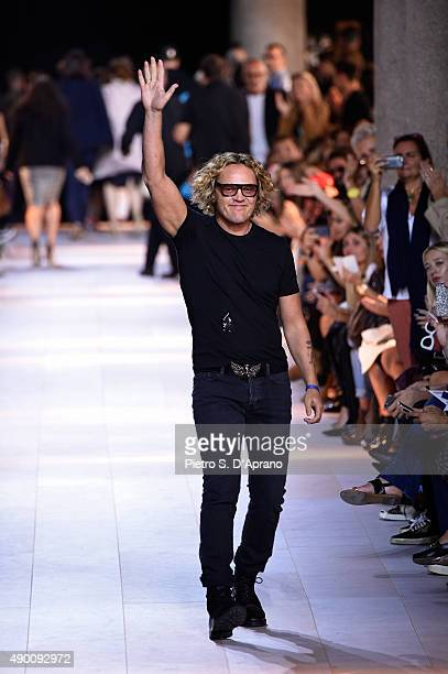 Designer Peter Dundas walks the runway after the Roberto Cavalli fashion show as part of Milan Fashion Week Spring/Summer 2016 on September 26 2015...