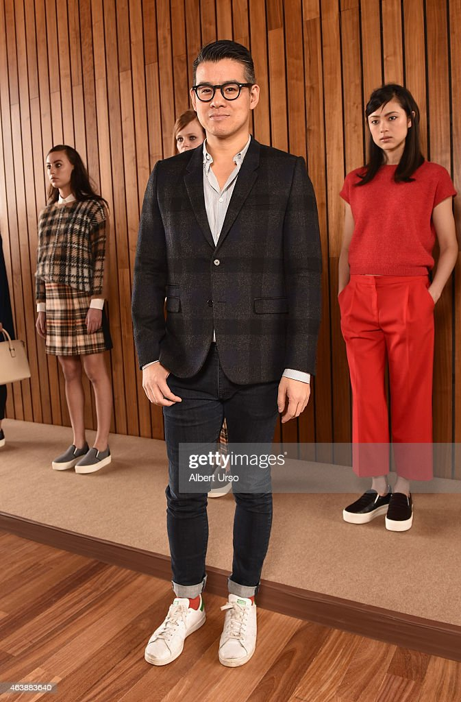 Designer Peter Som poses at the Blue Les Copains fashion presentation during Mercedes-Benz Fashion Week Fall 2015 at The Standard Hotel on February 19, 2015 in New York City.
