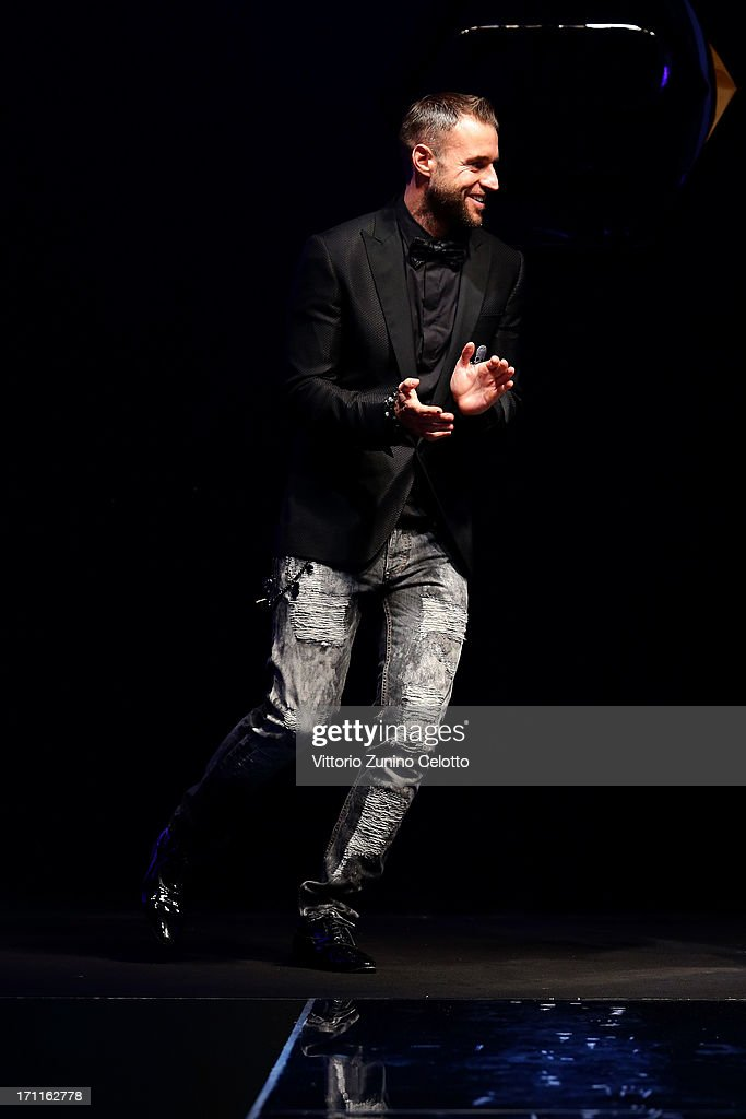 Designer Philip Plein after the show on the runway at the Philipp Plein show during Milan Menswear Fashion Week Spring Summer 2014 on June 22, 2013 in Milan, Italy.