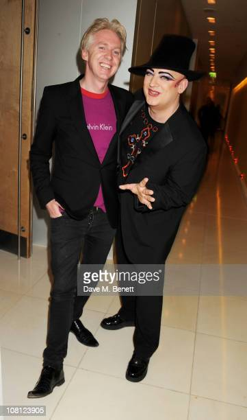 Designer Philip Treacy and singer Boy George attend an after party for the opening of Robert Mapplethorpe Night Work hosted by Scissor Sisters at St...