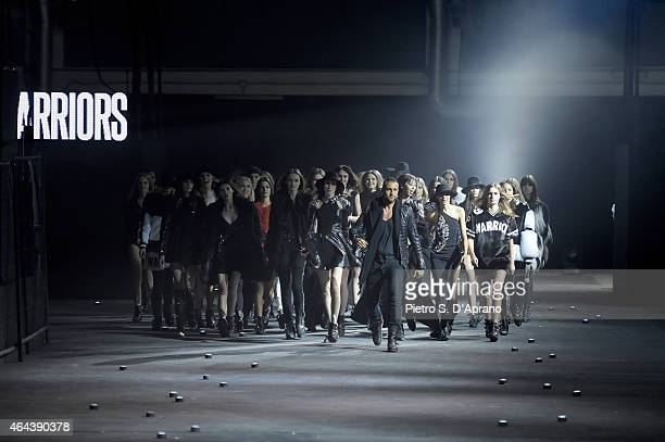 Designer Philipp Plein acknowledges the applause of the audience at the end of the Philipp Plein show during the Milan Fashion Week Autumn/Winter...