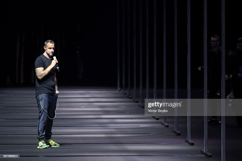 Designer Philipp Plein speaks on the runway at the Billionaire show during Milan Men's Fashion Week Spring/Summer 2018 on June 19, 2017 in Milan, Italy.