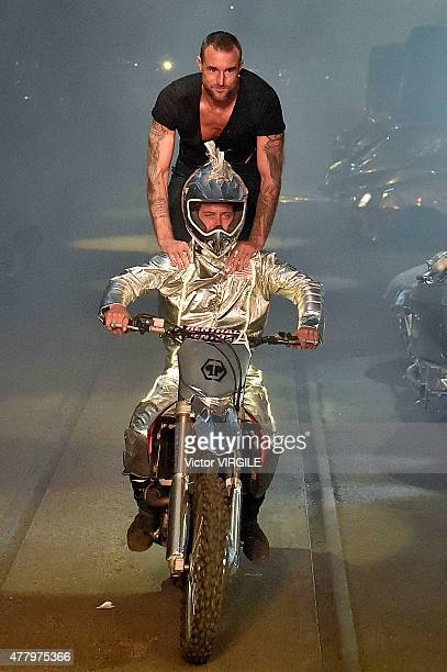 Designer Philipp Plein walks the runway during the Philipp Plein Ready to Wear fashion show as part of Milan Men's Fashion Week Spring/Summer 2016 on...