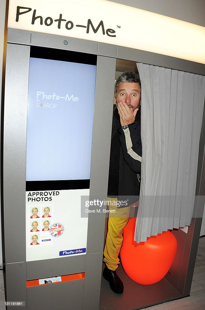 Designer <a gi-track='captionPersonalityLinkClicked' href=/galleries/search?phrase=Philippe+Starck&family=editorial&specificpeople=3961802 ng-click='$event.stopPropagation()'>Philippe Starck</a> attends the launch of his 'Photo-Me By Starck' Photobooth at the Saatchi Gallery on November 2, 2011 in London, England.