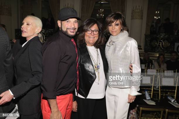 Designer Phillip Bloch Fern Mallis and Lisa Rinnaattends Dennis Basso fashion show during New York Fashion Week The Shows at The Plaza Hotel on...