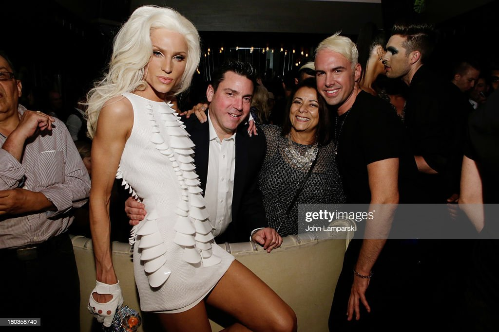 Designer Phillip Blond, Victor Allen,David Blond and guest attend The Blonds Mercedes-Benz Fashion Week Spring 2014 After Party at No. 8 on September 11, 2013 in New York City.