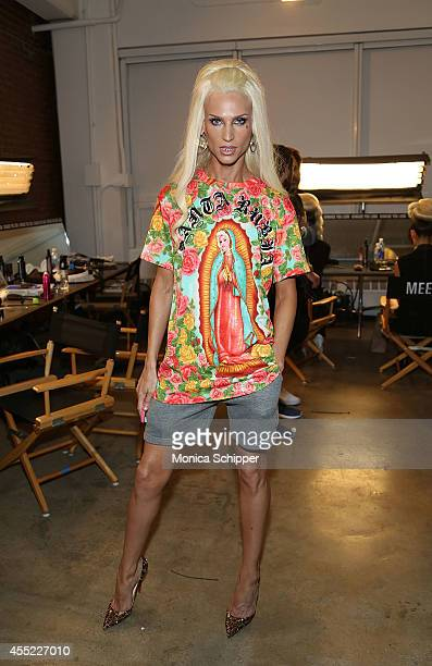 Designer Phillipe Blond poses for a photo backstage at The Blonds fashion show during MADE Fashion Week Spring 2015 at Milk Studios on September 10...