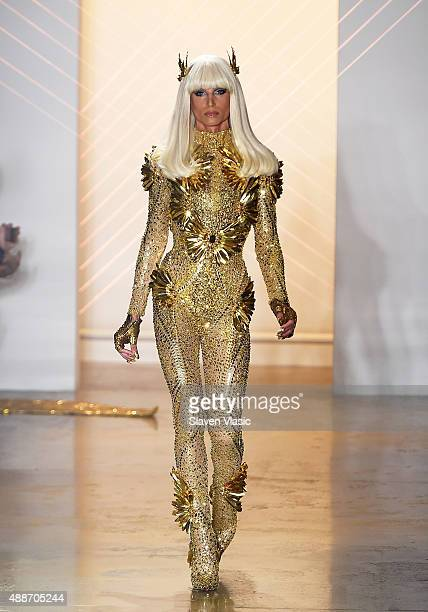 Designer Phillipe Blond walks the runway at The Blonds fashion show during Spring 2016 MADE Fashion Week at Milk Studios on September 16 2015 in New...