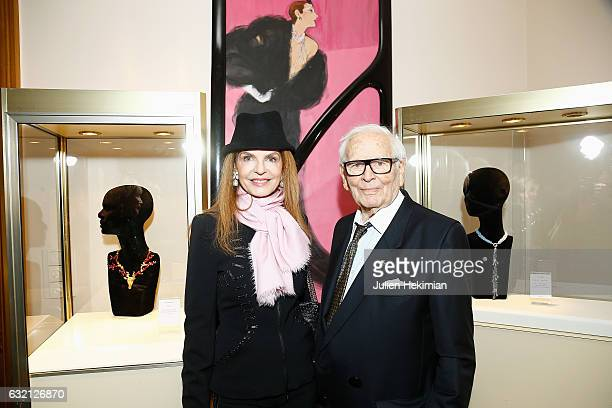 Designer Pierre Cardin and Cyrielle Clair attend the Pierre Cardin Jewellery Presentation as part of Paris Fashion Week on January 19 2017 in Paris...
