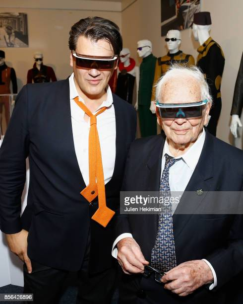Designer Pierre Cardin is pictured with the new Pierre Cardin glasses with his nephew Rodrigo Basilicati during the 'Pierre Cardin' By JeanPascal...