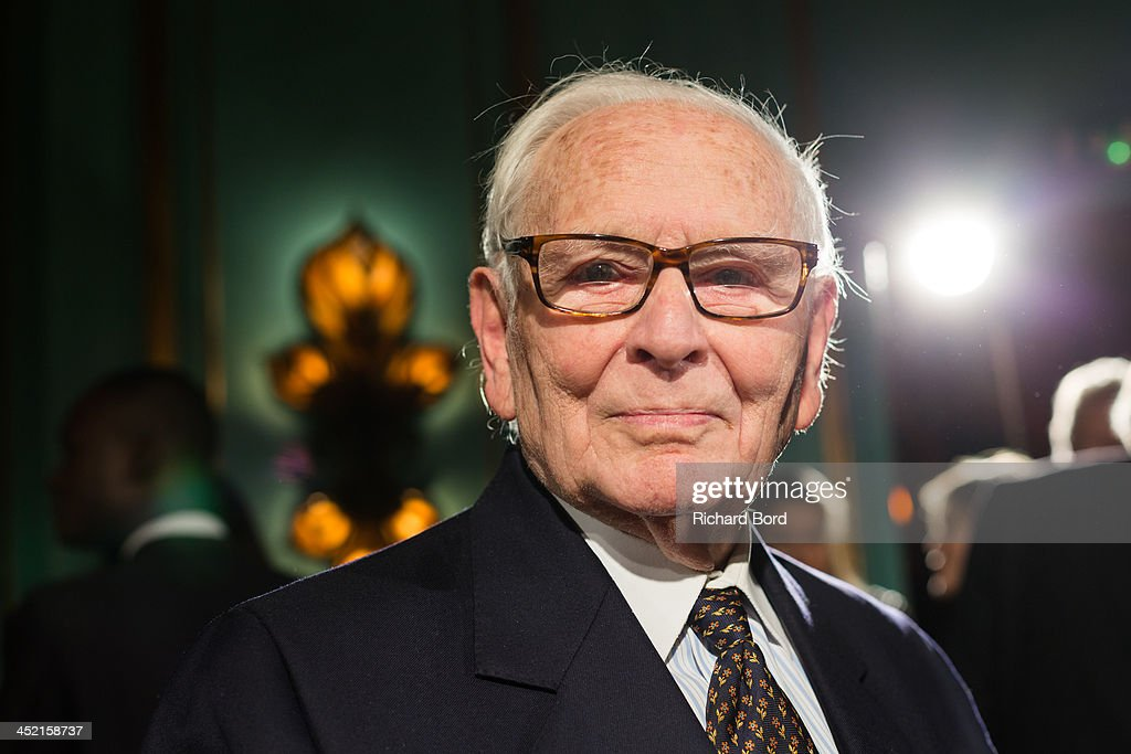 Designer Pierre Cardin poses during the Pierre Cardin Paris Haute Couture New Collection launch at Maxim's on November 26, 2013 in Paris, France.