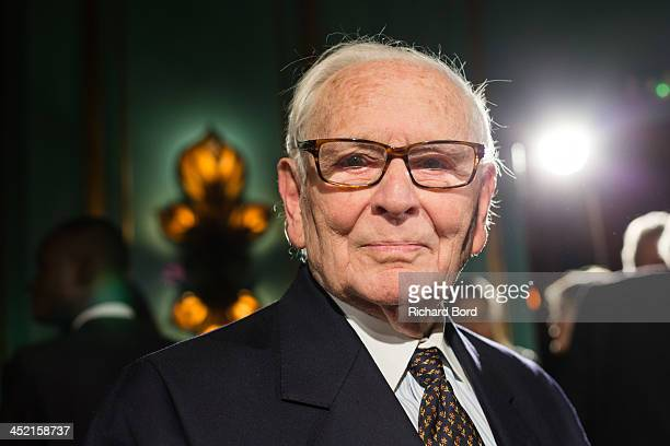 Designer Pierre Cardin poses during the Pierre Cardin Paris Haute Couture New Collection launch at Maxim's on November 26 2013 in Paris France