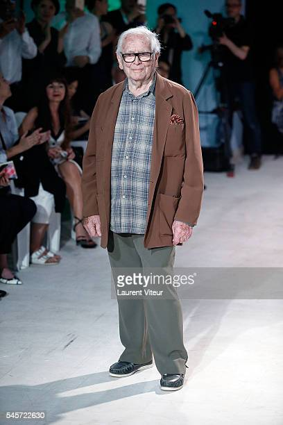 Designer Pierre Cardin walks the Runway during the Pierre Cardin Collection At Gare de Bonnieux as part of Paris Fashion Week on July 9 2016 in...