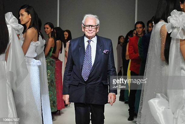 Designer Pierre Cardin walks the runway during the Pierre Cardin's '60 ans de Creation' at Bunka Fashion College on November 9 2010 in Tokyo Japan