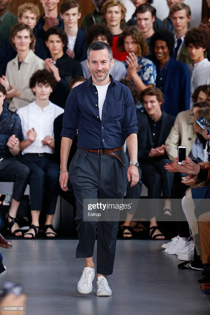 Designer Pierre Mahéo walks the runway during the Officine Generale Menswear Spring/Summer 2017 show designed by Pierre Mahéo as part of Paris Fashion Week on June 26, 2016 in Paris, France.