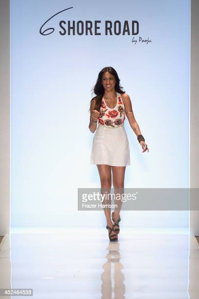 Designer Pooja Kharbanda walks the runway during 6 Shore Road by Pooja fashion show during MercedesBenz Fashion Week Swim 2015 at Cabana Grande at...