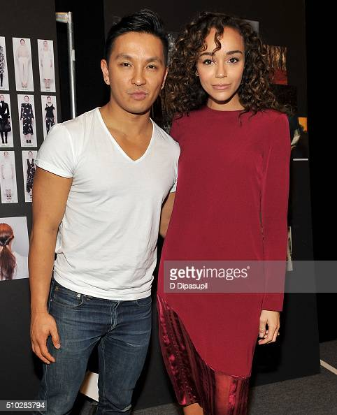 Designer Prabal Gurung and actress Ashley Madekwe attend the Prabal Gurung Fall 2016 fashion show during New York Fashion Week The Shows at The Arc...