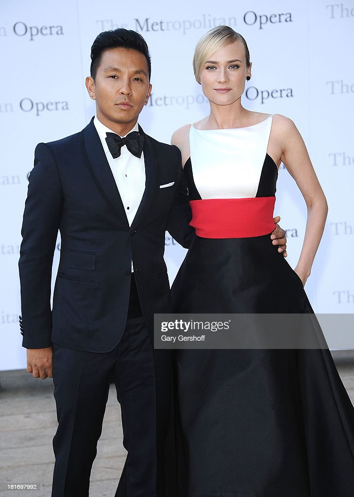 Designer Prabal Gurung (L) and actress <a gi-track='captionPersonalityLinkClicked' href=/galleries/search?phrase=Diane+Kruger&family=editorial&specificpeople=202640 ng-click='$event.stopPropagation()'>Diane Kruger</a> attend the season opening performance of Tchaikovsky's 'Eugene Onegin' at The Metropolitan Opera House on September 23, 2013 in New York City.