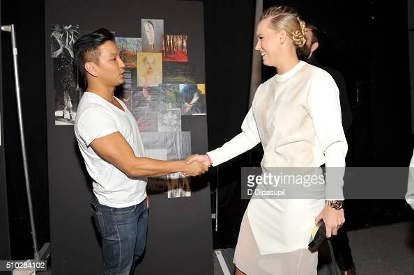 Designer Prabal Gurung and tennis player Caroline Wozniacki pose backstage at the Prabal Gurung Fall 2016 fashion show during New York Fashion Week...