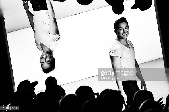 Designer Prabal Gurung poses on the runway after his Fall 2016 fashion show during New York Fashion Week The Shows at Skylight at Moynihan Station on...