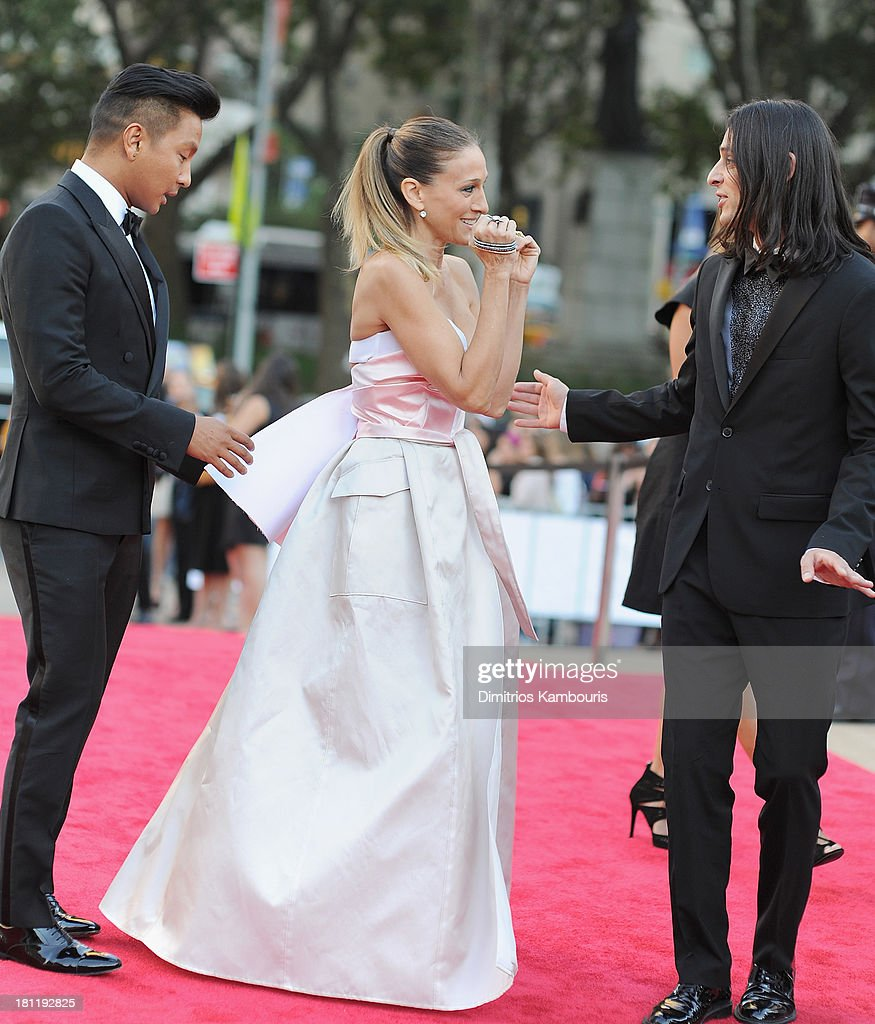 Designer Prabal Gurung, <a gi-track='captionPersonalityLinkClicked' href=/galleries/search?phrase=Sarah+Jessica+Parker&family=editorial&specificpeople=201693 ng-click='$event.stopPropagation()'>Sarah Jessica Parker</a> and designer Olivier Theyskens attend New York City Ballet 2013 Fall Gala at David H. Koch Theater, Lincoln Center on September 19, 2013 in New York City.