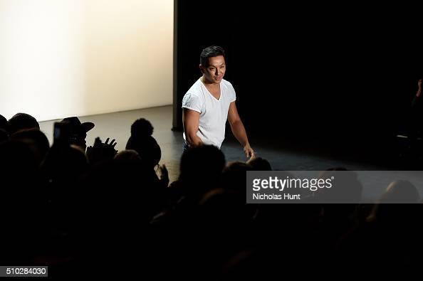 Designer Prabal Gurung walks the runway at the Prabal Gurung Fall 2016 fashion show during New York Fashion Week The Shows at The Arc Skylight at...