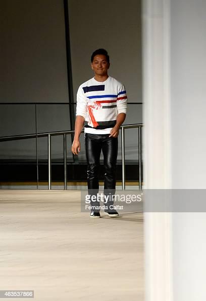Designer Prabal Gurung walks the runway at the Prabal Gurung fashion show during MercedesBenz Fashion Week Fall 2015 at The IAC Building on February...