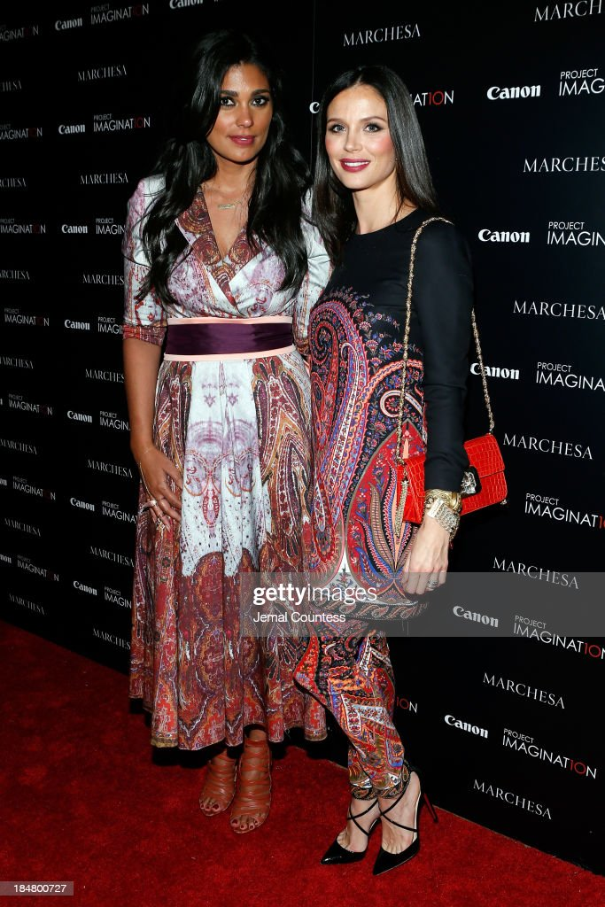 Designer Rachel Roy and Co-Founder of Marchesa and first time film director Georgina Chapman walk the carpet at Canon's Project Imaginat10n screening of 'A Dream of Flying,' a short film by Georgina Chapman at Crosby Street Hotel on October 16, 2013 in New York City.