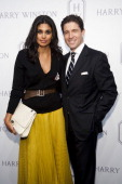 Designer Rachel Roy and Frederic de Narp CEO of Harry Winston attend the launch of the Court of Jewels recreation at Harry Winston on November 16...