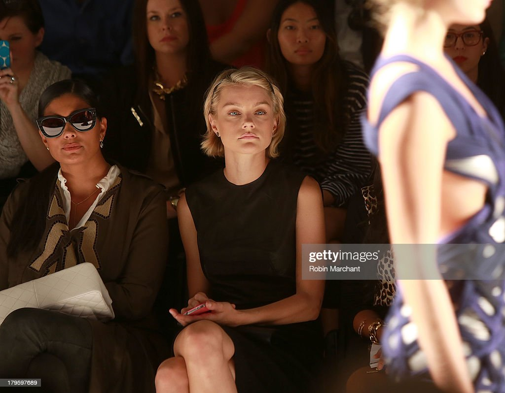 Designer Rachel Roy (L) and model <a gi-track='captionPersonalityLinkClicked' href=/galleries/search?phrase=Jessica+Stam&family=editorial&specificpeople=657570 ng-click='$event.stopPropagation()'>Jessica Stam</a> attend the Supima show during Spring 2014 Mercedes-Benz Fashion Week at The Studio at Lincoln Center on September 5, 2013 in New York City.