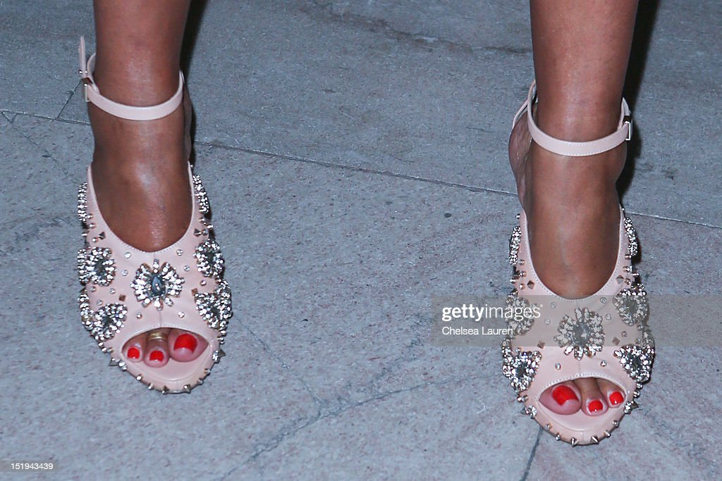 Designer Rachel Roy (shoe detail) attends the Marchesa spring 2013 fashion show during Mercedes-Benz Fashion Week at Vanderbilt Hall at Grand Central Terminal on September 12, 2012 in New York City.