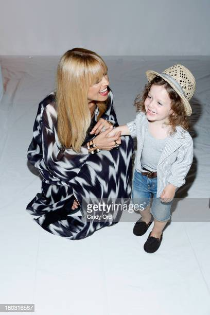 Designer Rachel Zoe and son Skyler Berman backstage at the Rachel Zoe fashion show during MercedesBenz Fashion Week Spring 2014 at The Studio at...