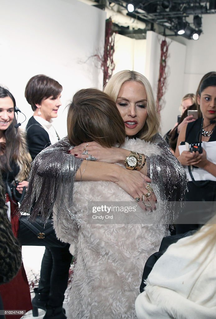 Designer, Rachel Zoe embraces guest at the Rachel Zoe A/W16 Presentation with hair by TRESemme during New York Fashion Week: The Shows at The Space, Skylight at Clarkson Sq on February 14, 2016 in New York City.