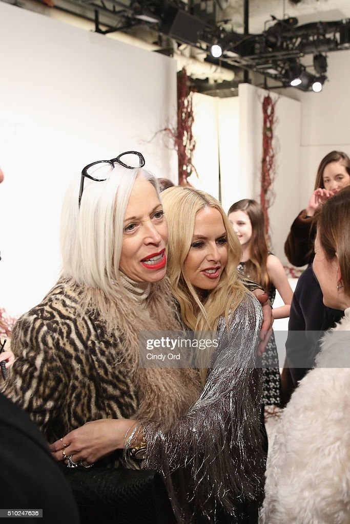 Designer, Rachel Zoe (right) embraces SVP of the fashion office and the director of women 's fashion and store presentation of the Bergdorf Goodman, <a gi-track='captionPersonalityLinkClicked' href=/galleries/search?phrase=Linda+Fargo&family=editorial&specificpeople=592060 ng-click='$event.stopPropagation()'>Linda Fargo</a>, at the Rachel Zoe A/W16 Presentation with hair by TRESemme during New York Fashion Week: The Shows at The Space, Skylight at Clarkson Sq on February 14, 2016 in New York City.
