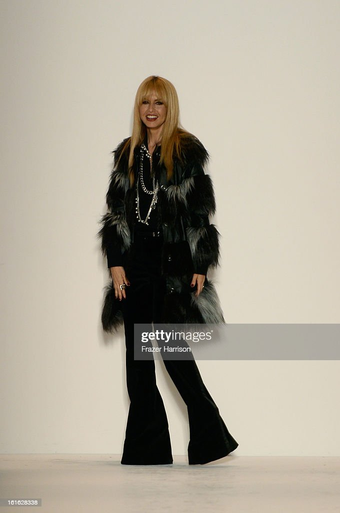 Designer <a gi-track='captionPersonalityLinkClicked' href=/galleries/search?phrase=Rachel+Zoe+-+Stylist&family=editorial&specificpeople=546501 ng-click='$event.stopPropagation()'>Rachel Zoe</a> walks the runway at the <a gi-track='captionPersonalityLinkClicked' href=/galleries/search?phrase=Rachel+Zoe+-+Stylist&family=editorial&specificpeople=546501 ng-click='$event.stopPropagation()'>Rachel Zoe</a> Fall 2013 fashion show during Mercedes-Benz Fashion Week at The Studio at Lincoln Center on February 13, 2013 in New York City.