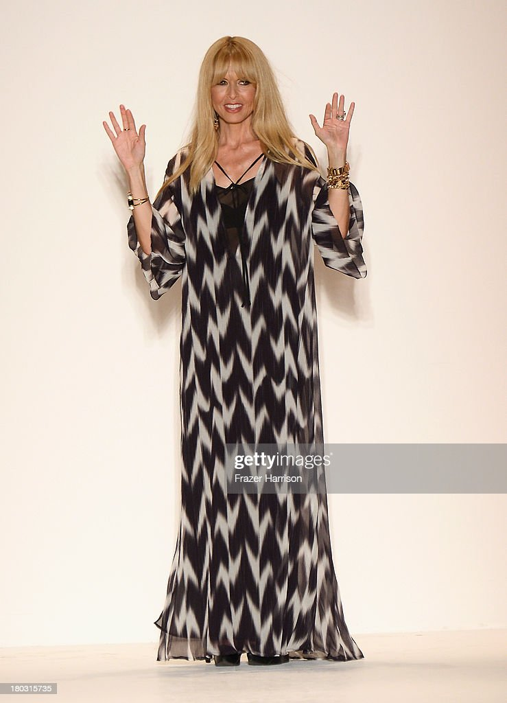Designer <a gi-track='captionPersonalityLinkClicked' href=/galleries/search?phrase=Rachel+Zoe+-+Stylist&family=editorial&specificpeople=546501 ng-click='$event.stopPropagation()'>Rachel Zoe</a> walks the runway at the <a gi-track='captionPersonalityLinkClicked' href=/galleries/search?phrase=Rachel+Zoe+-+Stylist&family=editorial&specificpeople=546501 ng-click='$event.stopPropagation()'>Rachel Zoe</a> fashion show during Mercedes-Benz Fashion Week Spring 2014 at The Studio at Lincoln Center on September 11, 2013 in New York City.