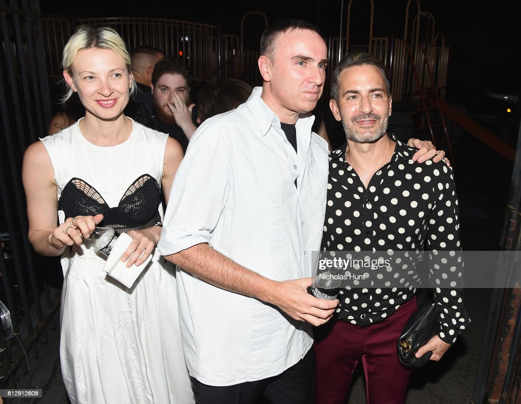 Designer Raf Simons and Marc Jacobs attend the Raf Simons - Front Row/Backstage at