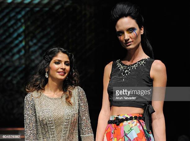 Designer Rajitha Prakruthi walks the runway during the Trompe L'oeil show at Art Hearts Fashion NYFW The Shows presented by AIDS Healthcare...
