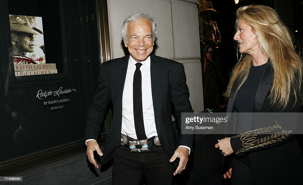 Designer Ralph Lauren (L) and his wife Ricky Lauren (R) arrive at