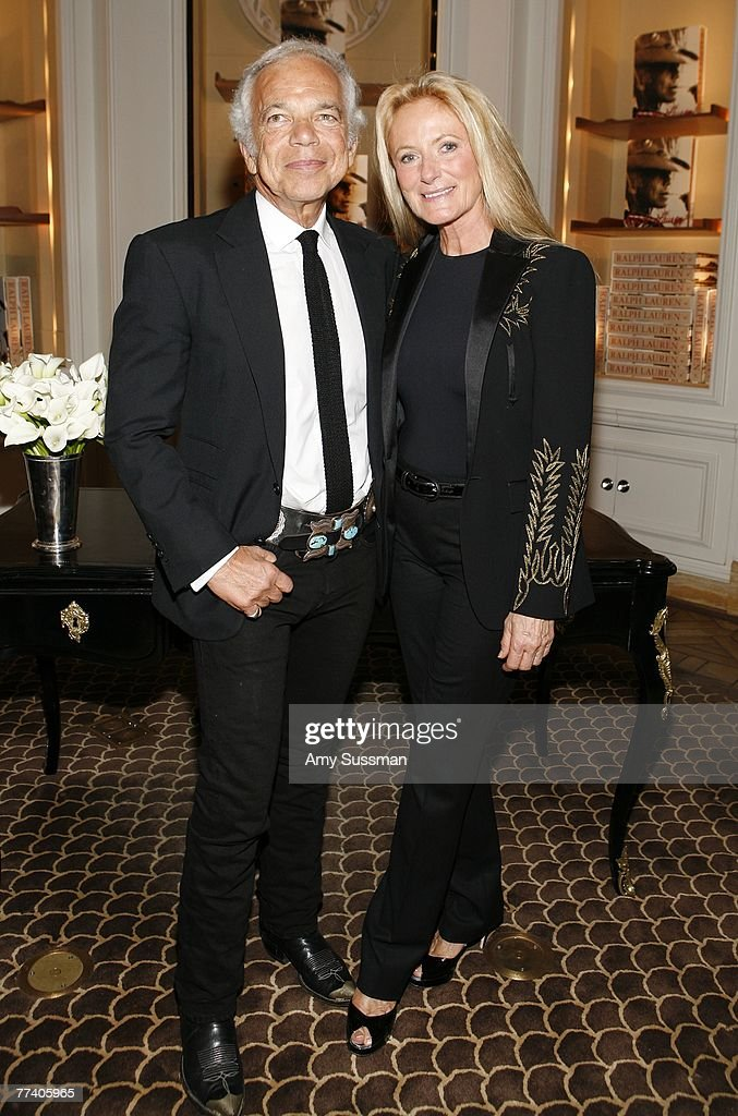 Designer Ralph Lauren (L) and his wife Ricky Lauren (R) attend the