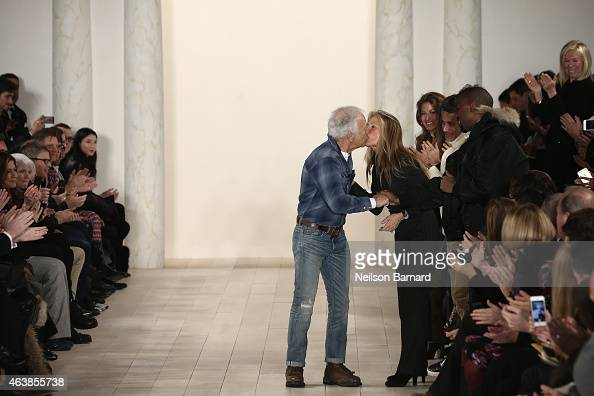 Designer Ralph Lauren and Ricky Lauren on the runway at the Ralph Lauren fashion show during MercedesBenz Fashion Week Fall 2015 at Skylight Clarkson...