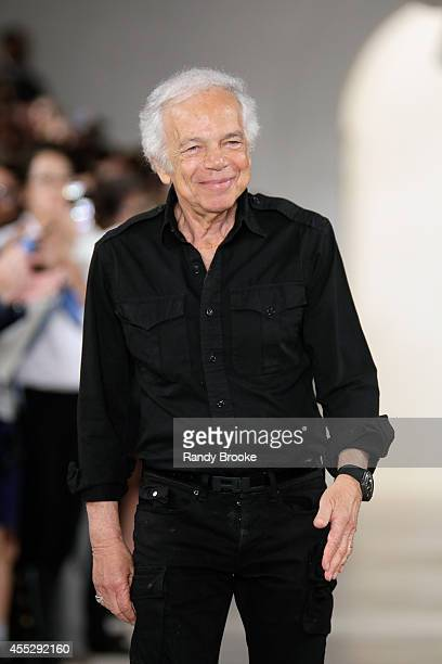 Designer Ralph Lauren greets the aucdience during MercedesBenz Fashion Week Spring 2015 at Skylight Clarkson Sq on September 11 2014 in New York City