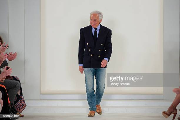Designer Ralph Lauren greets the audience at the finale of the Ralph Lauren Runway Spring 2016 New York Fashion Week The Shows at Skylight Clarkson...