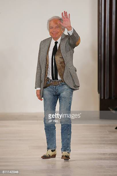 Designer Ralph Lauren greets the audience at the finale of the Ralph Lauren Fall 2016 fashion show during New York Fashion Week The Shows at Skylight...