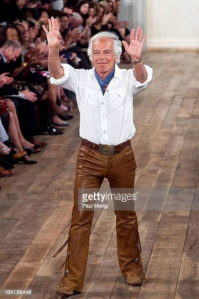 Designer Ralph Lauren on the runway at the conclusion of his show at the Ralph Lauren Spring 2011 fashion show during MercedesBenz Fashion Week at...