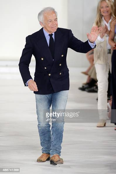 Designer Ralph Lauren poses on the runway at his Spring 2016 fashion show during New York Fashion Week The Shows at Skylight Clarkson Sq on September...