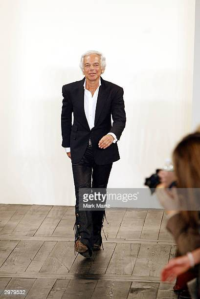 Designer Ralph Lauren walks down the runway at the Ralph Lauren fashion show on February 13 2004 during Olympus 2004 Fashion Week in New York City