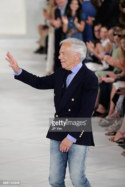 Designer Ralph Lauren walks the runway at Ralph Lauren Spring 2016 during New York Fashion Week The Shows at Skylight Clarkson Sq on September 17...