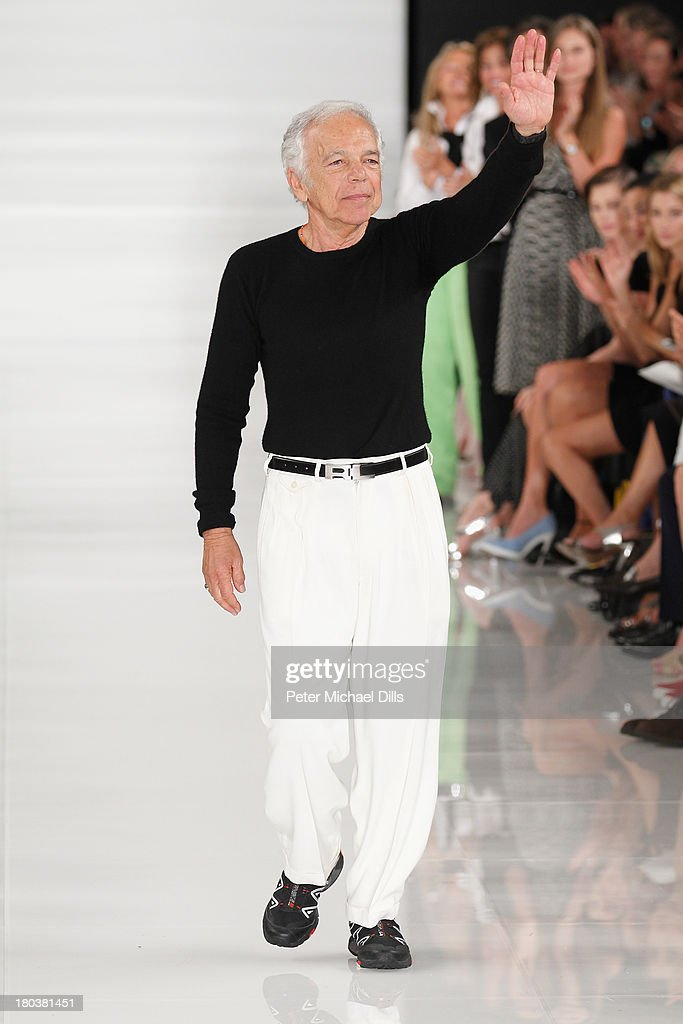 Designer <a gi-track='captionPersonalityLinkClicked' href=/galleries/search?phrase=Ralph+Lauren+-+Fashion+Designer&family=editorial&specificpeople=4442108 ng-click='$event.stopPropagation()'>Ralph Lauren</a> walks the runway at the <a gi-track='captionPersonalityLinkClicked' href=/galleries/search?phrase=Ralph+Lauren+-+Fashion+Designer&family=editorial&specificpeople=4442108 ng-click='$event.stopPropagation()'>Ralph Lauren</a> fashion show during Mercedes-Benz Fashion Week Spring 2014 at St. John Center Studios on September 12, 2013 in New York City.